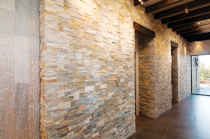 Modern Santa Fe Stacked Stone Walls